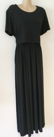 ASOS BLACK JERSEY MAXI NURSING DRESS SIZE UK 16